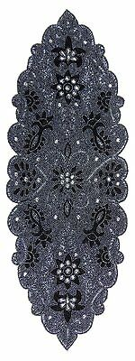 Cotton Craft - Trevi Grey Platinum Hand Beaded Table Runner - 13x36 Inches - one