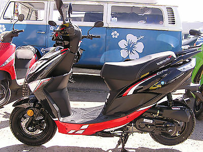 Lexmoto Echo 50cc, in black/red and white/blue. In stock, brand new.