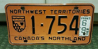 1969 Northwest Territories Canada's Northland License Plate # 1-754