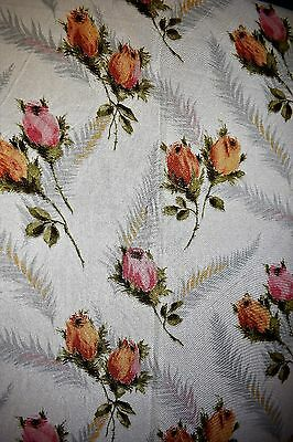 Pair of Vintage 50s Retro Shabby Chic Pink Orange Floral Rose Fabric Curtains