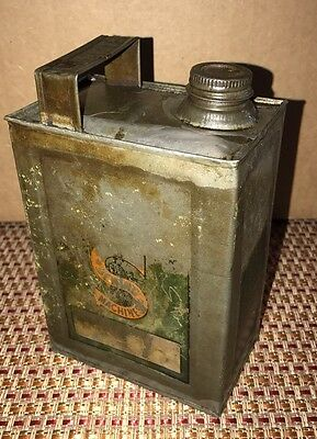 RARE Antique Singer Sewing Machine Seamstress Stamped Oil Can Tin Metal Vintage