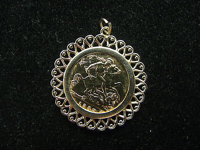 9ct & 22ct Yellow Gold 1/2 Sovereign 1982 Ornate Pendant 5.6g Fabulous
