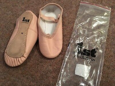 Girls 1st Position Leather Pink Ballet Shoes Size 10. Nearly New.