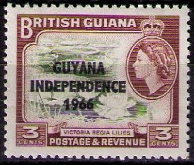 GUYANA ~ 1966 3c Brown Olive & Red, W12 upright. Independence Issue, sg#386 MNH