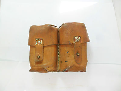 Original Yugoslavian Sks Two Pocket Leather Ammunition Pouch.