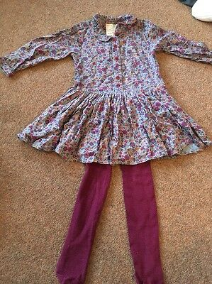 M&S Girls Dress And Tights Outfit Age 2-3 Years
