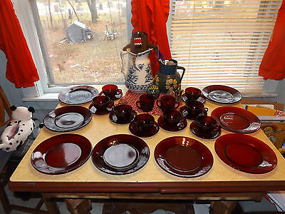 Anchor Hocking Ruby Red 26 Piece Set 8 Place Settings