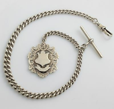 Antique Solid Sterling Silver Pocket Watch Single Albert Chain T Bar Medal 1900