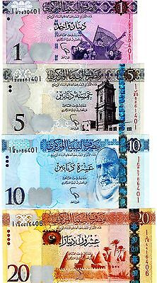 Libya 1,5,10 &20 Dinars Uncirculated 4 Notes 2013, 2015