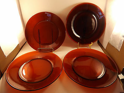 "Anchor Hocking Ruby Red Four 9 1/4"" Dinner Plates #2"