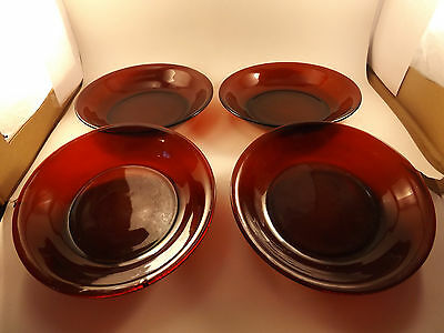 Anchor Hocking Ruby Red Four Flat Soup Bowls