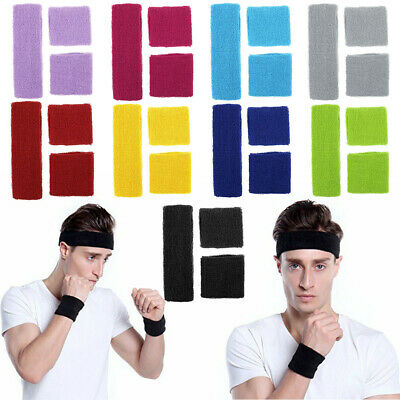 FREE UK Post - 1 Headband 2 Wristbands Set Sports Towelling Sweatband Tennis Gym