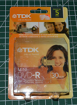 5 Pack TDK 1.4GB 1-2X Mini DVD-R Blank Media Disc For Camcorder in Jewel Cases