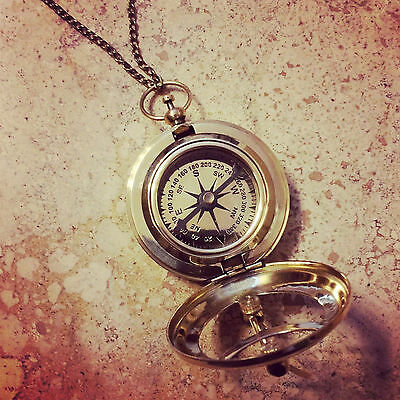 Vintage Style Sundial Compass Necklace - Nautical Shiny Brass Glass High Quality