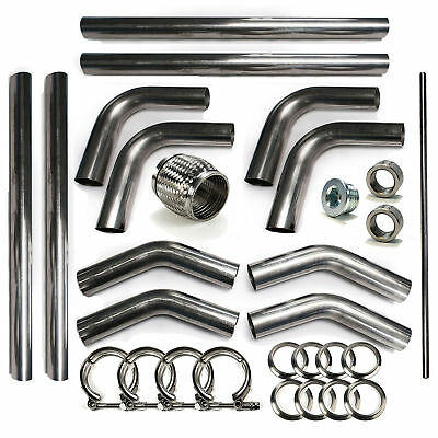 "2.5"" 304 Stainless Mandrel Bend Universal Rod Builder Exhaust Kit V-Band 45 180"