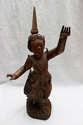 Beautiful Antique Carved Wooden Balinese Dancing Figure with Moving Arms - 57cm