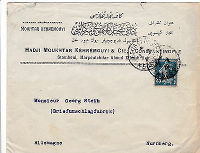 France/turkey 1920 Constantinople Commercial Cover Tresor Et Postes 506B Cancel