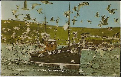 """Bringing in the Catch, Scalloway"", Orkney, on mint Williamson colour postcard"