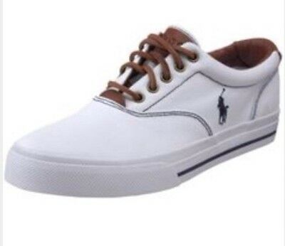 "Polo Ralph Lauren Men's ""Vaughn"" Leather Casual Sneakers Size 9D White/Brown"