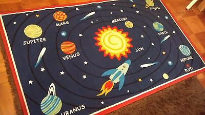 """Child's Planet rug - playroom/ bedroom planet play mat 39 x 64"""" (new/no label)"""