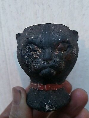 Mega rare lucky black cat Large clay pipe bowl..
