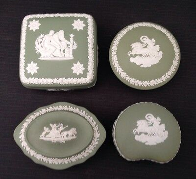 Wedgwood Sage Jasperware 4 x Candy Boxes - Great Condition
