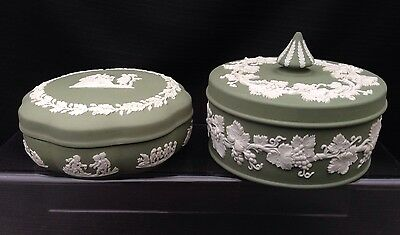 Wedgwood Sage Jasperware 2 x Large Candy Boxes - Great Condition