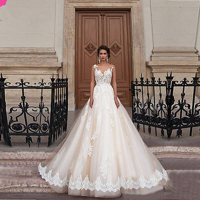 New A Line White Ivory Wedding Dress Lace Bridal Gown Custom Size 6/8/10/12/14++
