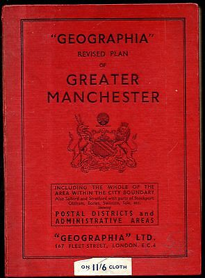 """""""Geographia"""" revised plan of Greater Manchester : huge 3'x4 'coloured cloth map"""