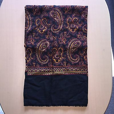 Vintage Paisley Scarf Mod Retro Black And Gold 60s 70s