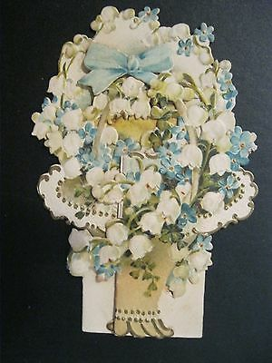 VTG Valentine Card BEAUTIFUL 1890's Die Cut Lily Valley OUTSTANDING Greeting G