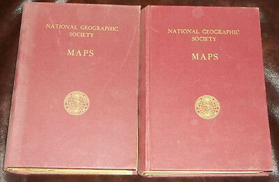 Vintage 1950s National Geographic Society Maps 2 Books