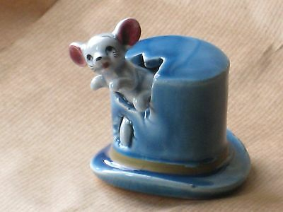 MOUSE in a BLUE TOP HAT of the FOOT IN FOOT OUT SERIES  Ceramic Pottery Figure