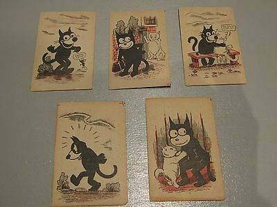 Five Vintage Felix The Cat Cards From Felix Snap Game c1920s