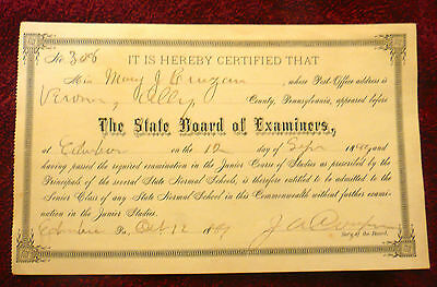 1899 Verona, Ally County, Pa State Normal School Certificate - Admittance to SR.