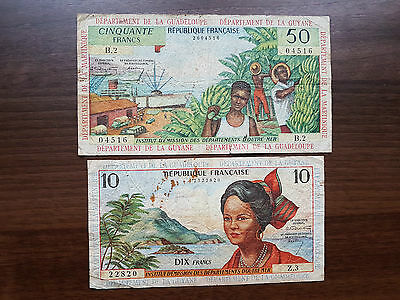 French Antilles Martinique Guadeloupe Guyane 60 francs 1964 D'outre-mer banknote