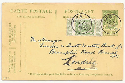 Belgium PS card uprated both no Sunday delivery 1910