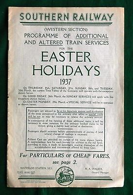 Southern Railway Train Services Programme Easter 1937