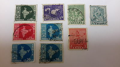 India Stamps x 9 Np Ps As used