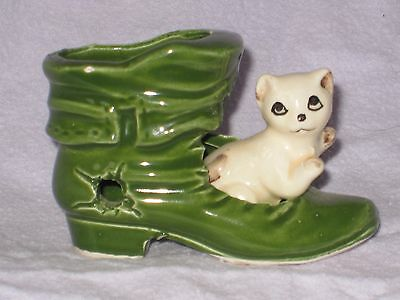 MOUSE in a  CAT in a GREEN BOOT.Ceramic Pottery Ornament.