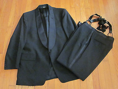 MENS 46 R BLACK SACINO'S After Six TUXEDO JACKET / PANT/ SUSPENDERS Made in USA