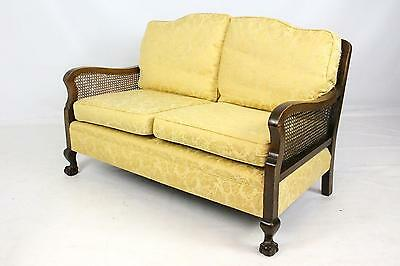 Antique Walnut Upholstered 2 Seater Bergere Cane Sofa Settee