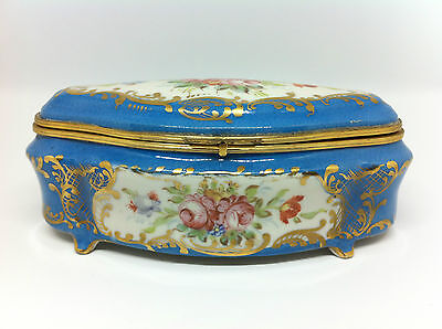 Sevres Style Antique Mounted Accessory Jewelry Porcelain Box RARE!!!