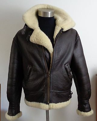 SHEARLING leather B-3 flight aviator JACKET SIZE UK Approx slim 42 R