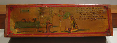 "VINTAGE ""Old Mother Hubbard"" WOOD PENCIL BOX"