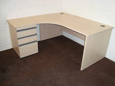 Office desk workstation. Left hand radial. Maple with side drawers