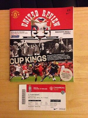 Manchester United Vs Liverpool Programme&Ticket Stub