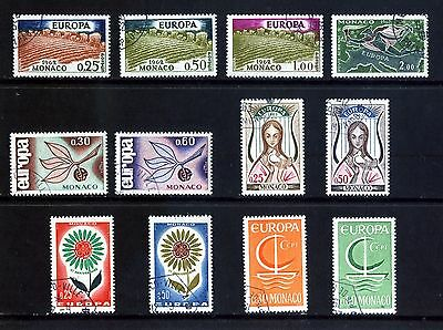 MONACO 4 EUROPA SETS FROM 1962: 12 STAMPS FINE USED / CTO : See Scan