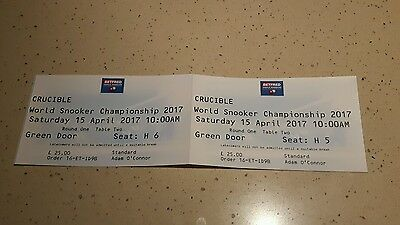 World Snooker championship snooker tickets x 2 15 April 2017 Round One Table Two