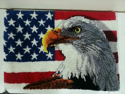 "Completed Latch Hook Bald Eagle W/flag Rug 39""x27"""